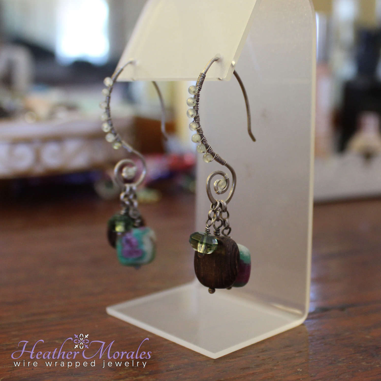 Sterling Silver and Ruby in Fuchsite Wire Wrapped Dangle Earrings
