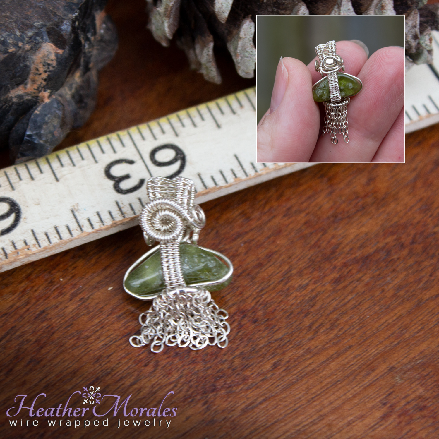 Sterling Silver and Vesuvianite Miniature Wire Wrapped Pendant