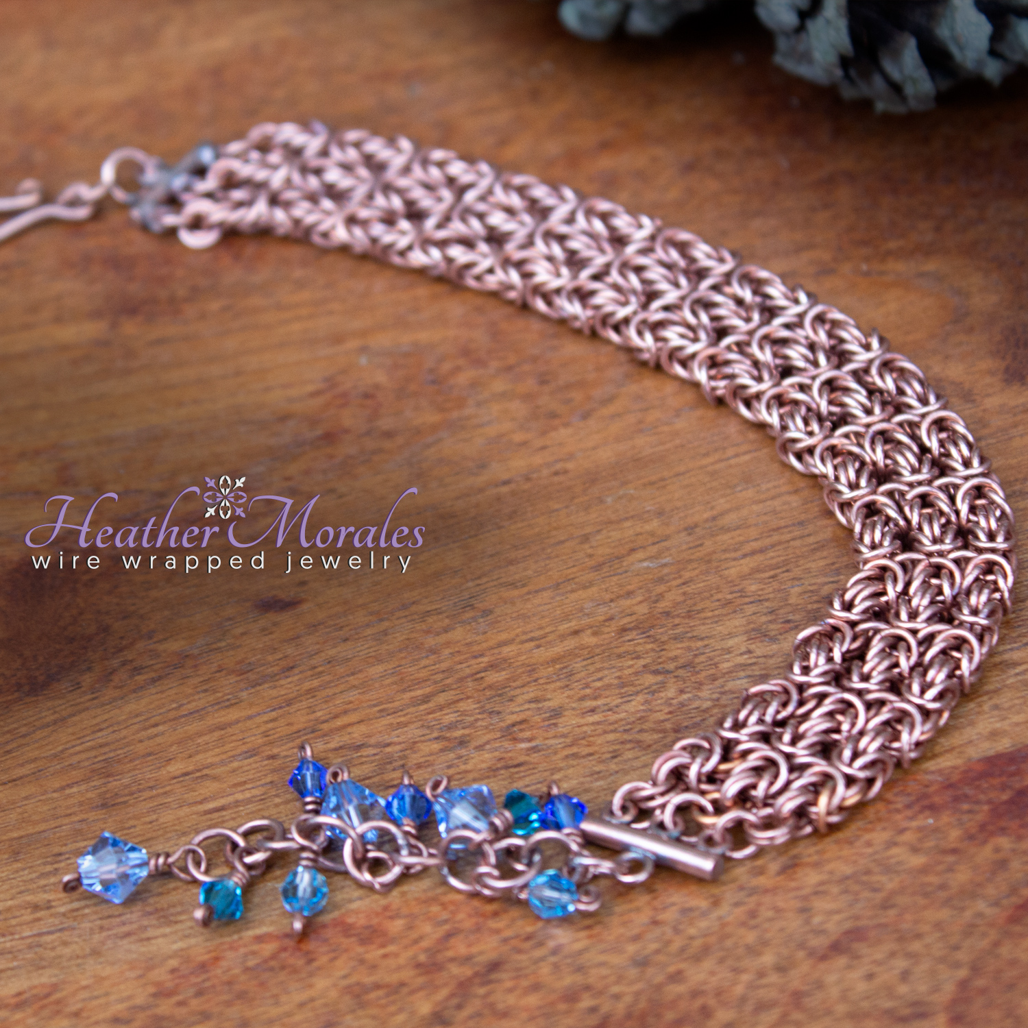 Copper Byzantine Bracelet with various blue Swarovski crystal beads