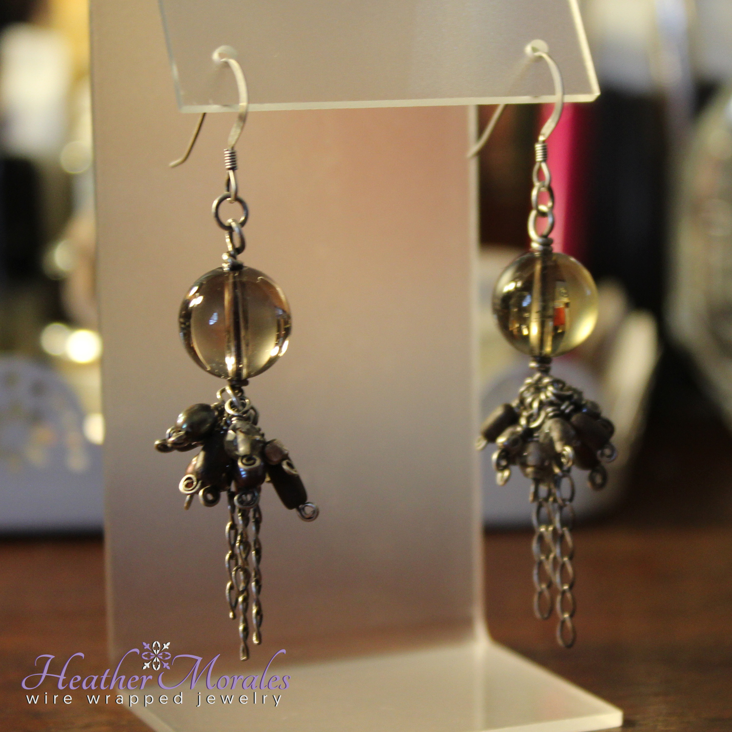 Sterling Silver and Smoky Quartz Dangle Earrings