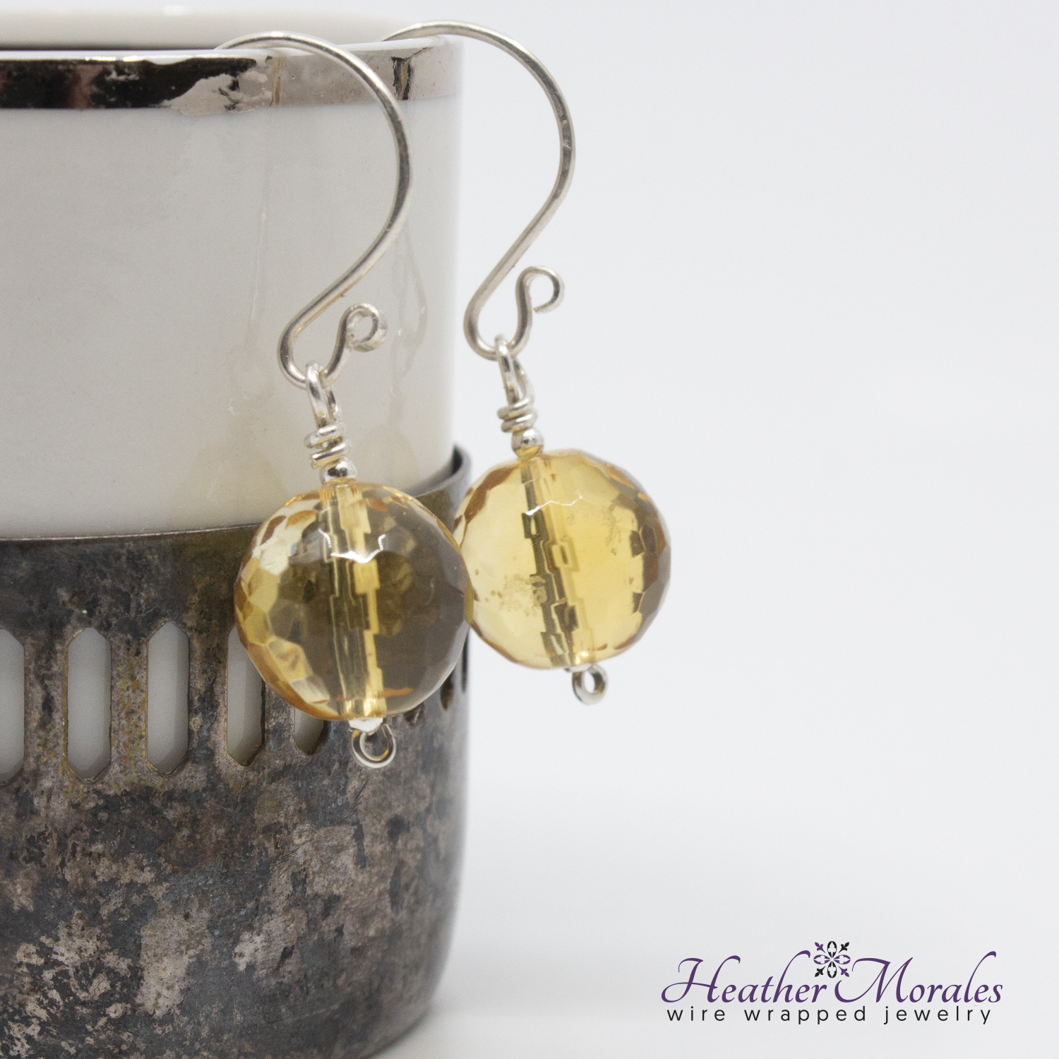 Sterling Silver Dangle Earrings with Citrine Bead | bridemaids earring sets