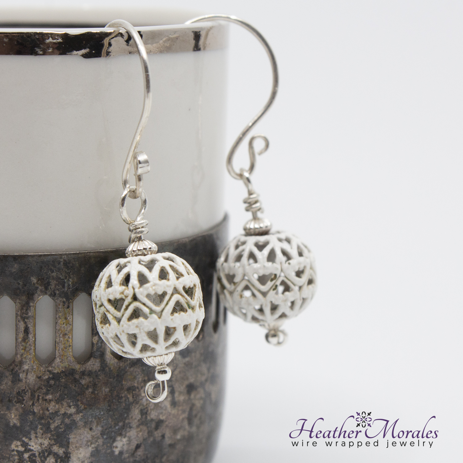 Sterling Silver Dangle Earrings with Vintage Filigree Bead | bridemaids earring sets
