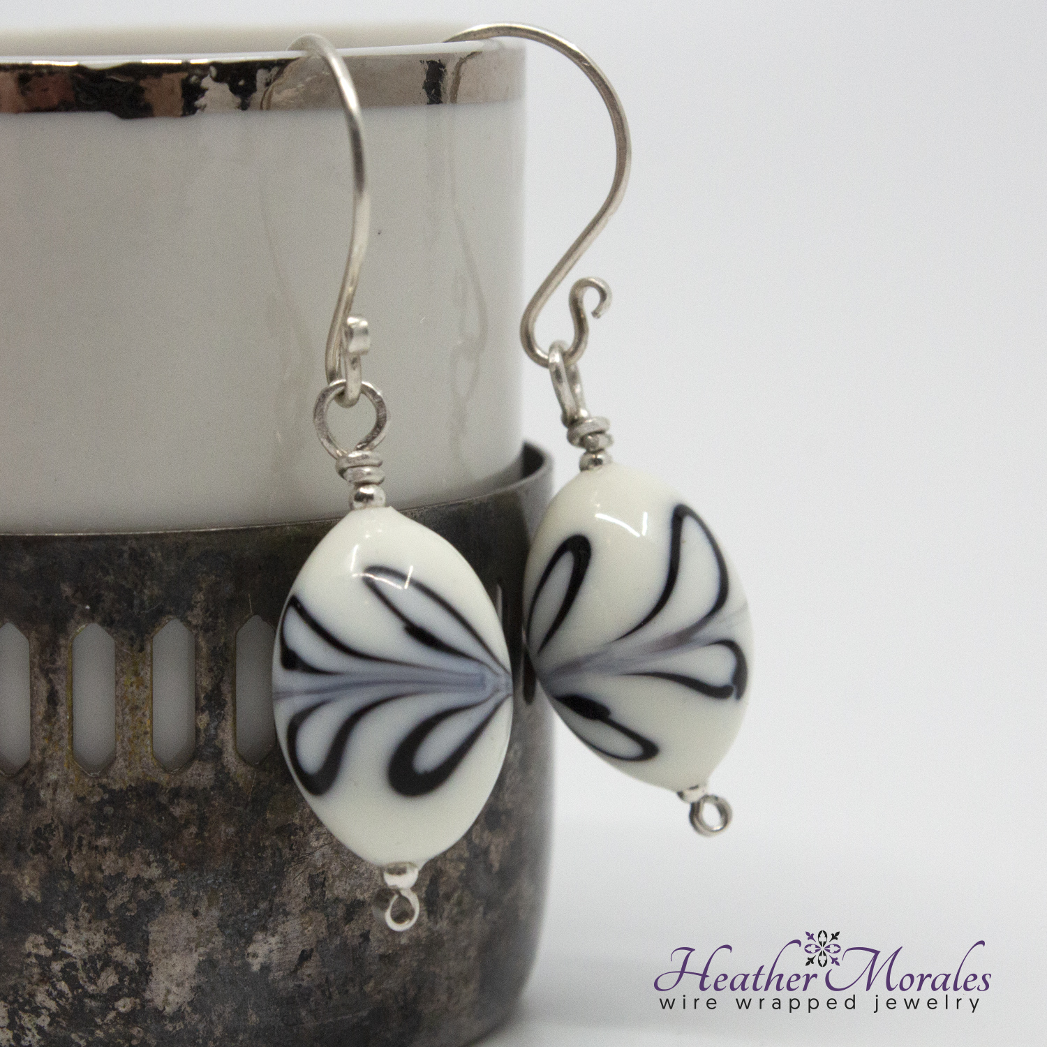 Sterling Silver Dangle Earrings with Vintage Porcelain Bead | Bridal Earrings