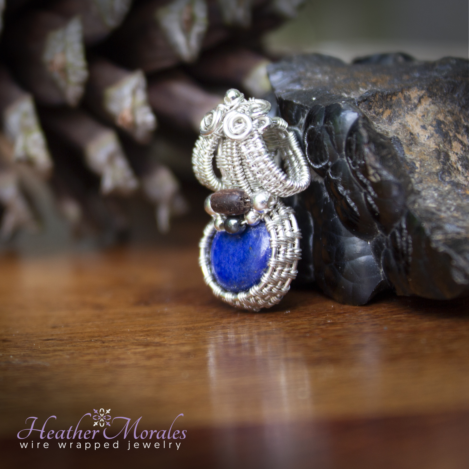 Sterling Silver and Lapis Lazuli Miniature Wire Wrapped Pendant