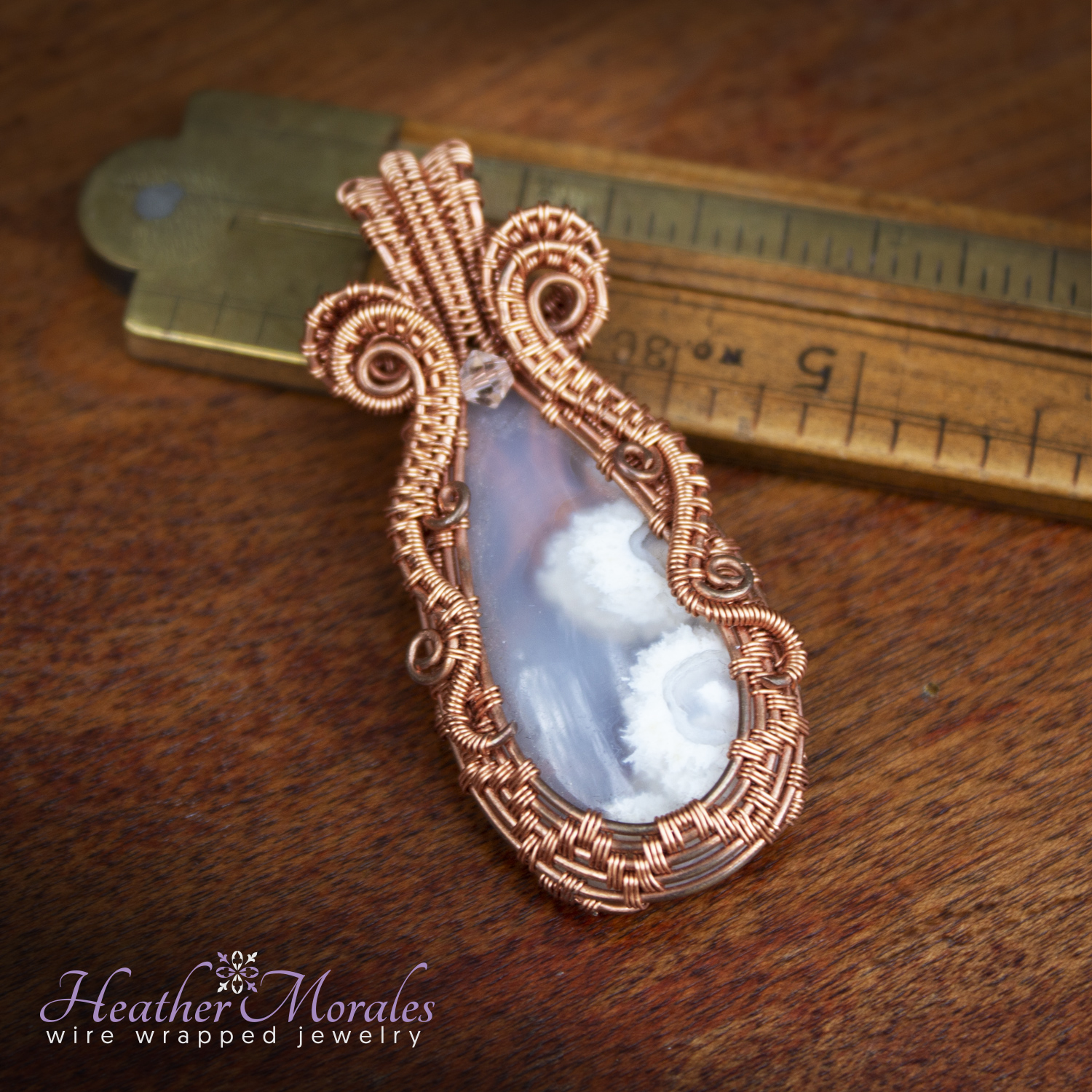 Copper and White Stone Wire Weaved Pendant